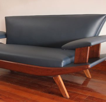 Fully restored '70s sofa covered in a Blue Vinyl