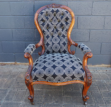 Deep Buttoned Grandfather Chair